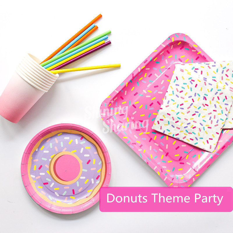 Donuts Party Disposable Plate Straw Donuts Balloon Baby Shower Party Decoration For Girls Birthday Party Decor Supplies MD13