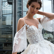 Romantic Beaded Flowers Wedding Dress Swanskirt F130 Sweetheart Appliques Lace Vestido De Noiva A Line Court Train Bridal Gown