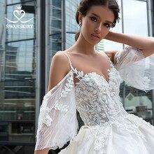 Romantische Perlen Blumen Hochzeit Kleid Swanskirt F130 Schatz Appliques Spitze Vestido De Noiva A Line Gericht Zug Brautkleid