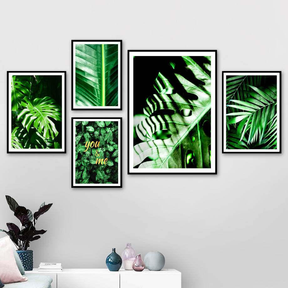 Fresh Green Palm Banana Monstera Leaf Wall Art Canvas Painting Plants Nordic Posters And Prints Pictures For Living Room
