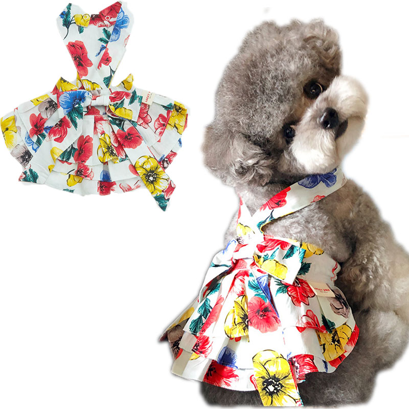 Floral Weeding Dress Pet Clothes Sleeveless Sexy Evening Dresses For Girls Cotton Yellow Big Bowknot Skirt 2020 Summer Clothing