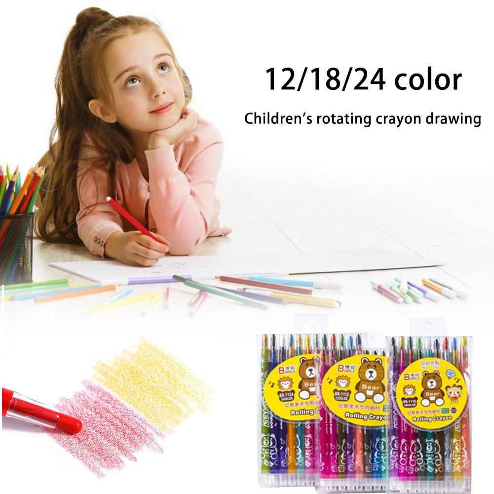 12/18/24 Colors Children Rotary Crayon Painting Art Supplies Graffiti Pens Water-soluble Silky Oil Pastel Stick School Supplies