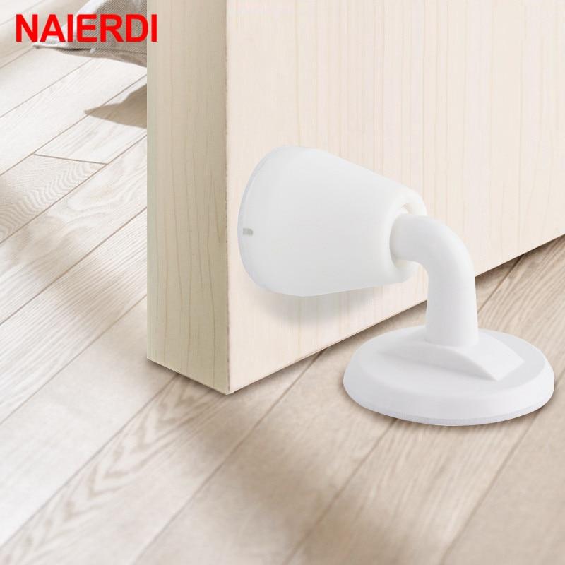 NAIERDI ABS Silicone Door Stopper Non Punching Sticker Hidden Door Holders Self Adhesive Door Stop Wall Protectors