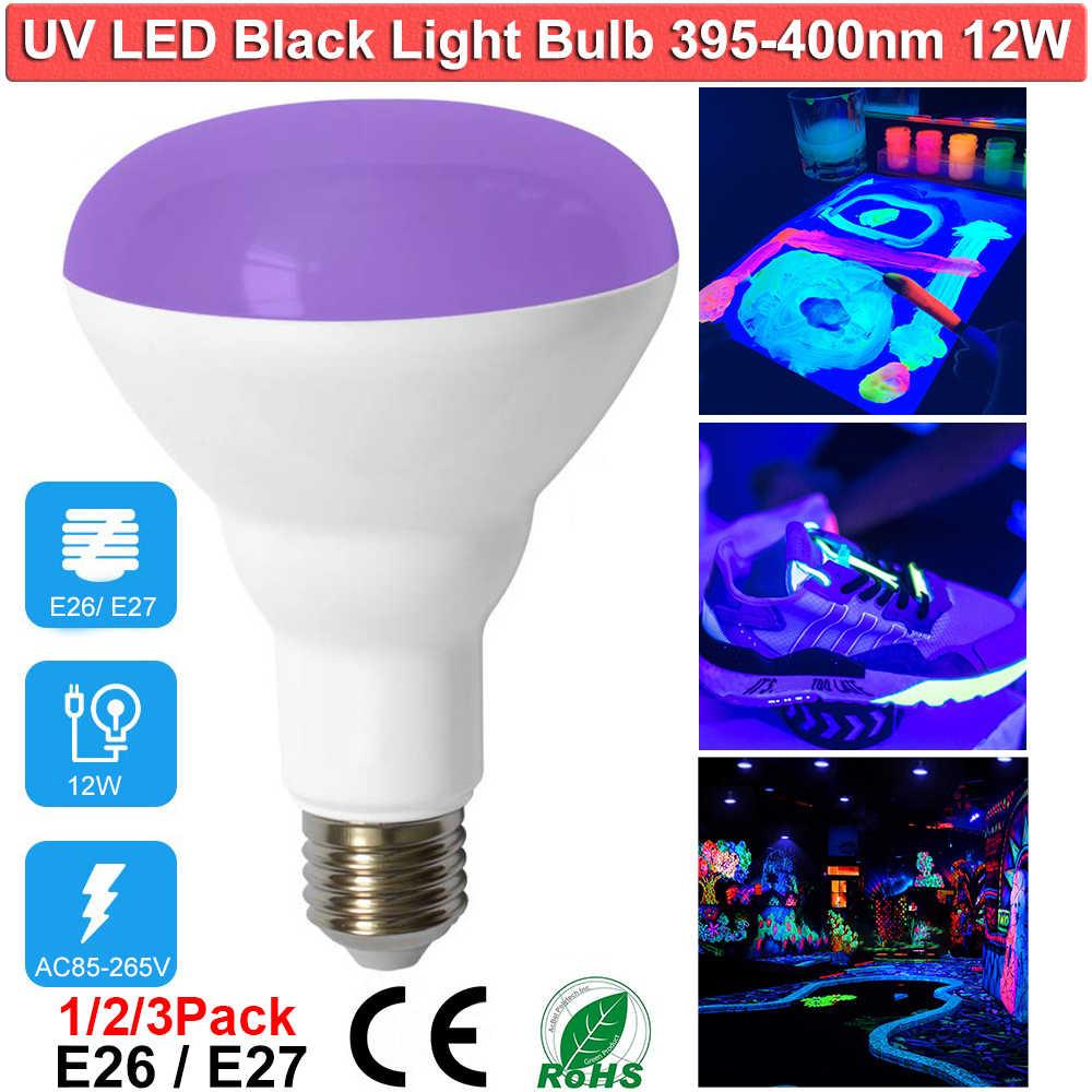 9W UV LED Black lights Bulb A19 E26 E27 UV UVA Level 395-400nm Glow in The Dark