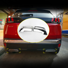 For Peugeot 3008 5008 Allure Access 2016 2017 2018 2019 2020 ABS Chrome Rear Exhaust Muffler Tail End Pipe Decoration Cover Trim