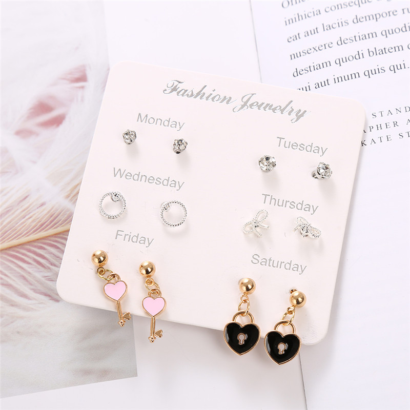 New Geometric Cute Key <font><b>Lock</b></font> <font><b>Heart</b></font> Drop <font><b>Earring</b></font> for Women 2019 Female Fashion Jewelry 6 Pairs Monday To Saturday <font><b>Earrings</b></font> Set image