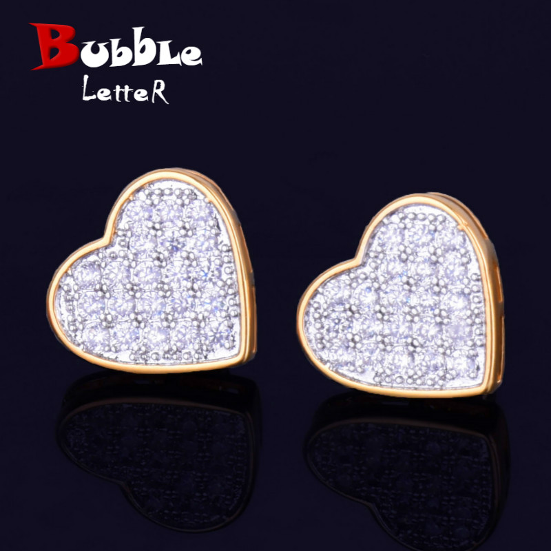 14MM Width Heart-shaped Gold Color Stud Earring For Men Women Full Cubic Zircon Screw Back Earrings Fashion Hip Hop Jewelry Gift