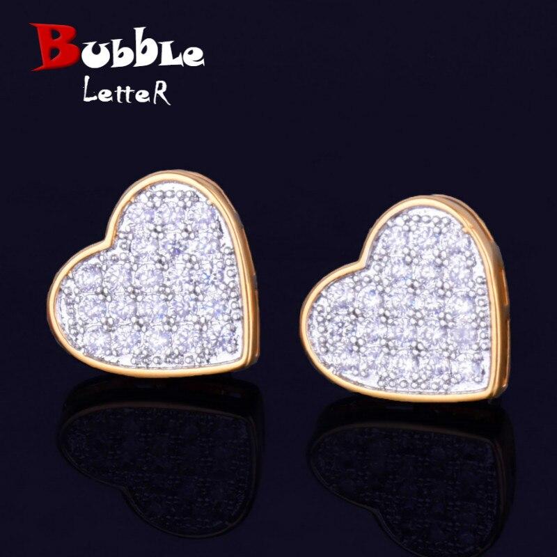 14MM Width Heart-shaped Gold Color Stud Earring For Men Women Full Cubic Zircon Screw Back Earrings Fashion Hip Hop Jewelry Gift