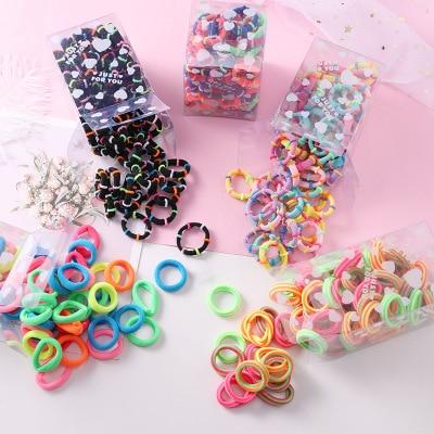 50PCS/Set 3CM Girls Children Small Ring Rubber Band Kids Cute Elastic Hair Band Ponytail Holder Scrunchie Kid Hair Accessories