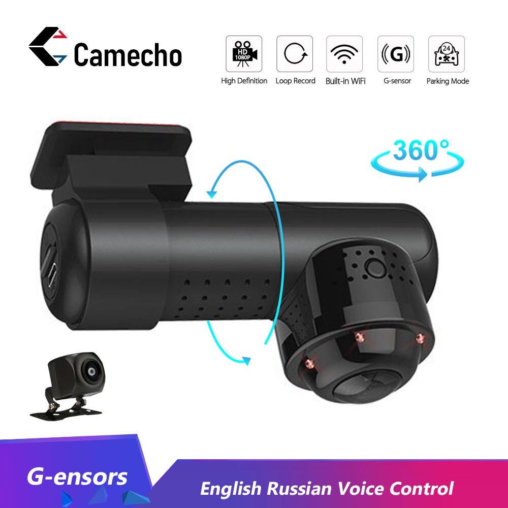 Caméra Dashcam 360 degrés 1080P HD Vision nocturne WiFi voiture DVR WiFi g-sensor caméra enregistreur vidéo anglais russe commande vocale