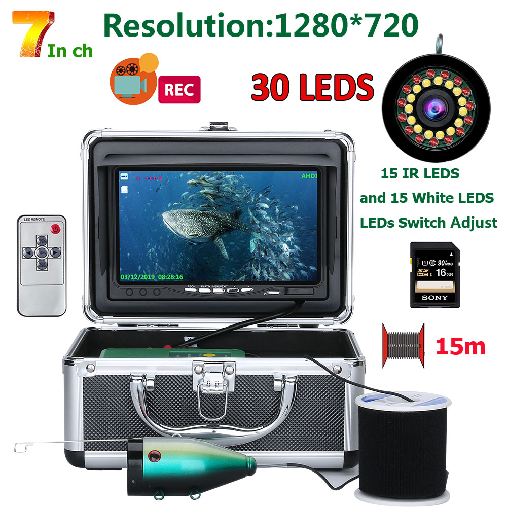 HD 1280*720 ekran podwójna lampa 1080P 15 m/30 m kamera DVR lokalizator ryb podwodna kamera wędkarska do wędkowania 16GB Recoding