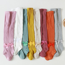 Girls Tights Pantyhose Stockings Knitted Winter 8-Colors Bowknot for Children Ribbed