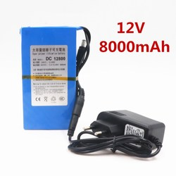 100% Durable DC 12V 8000 MAH High Capacity Lithium ion rechargeable battery AC Charger (US/EU Plug Hot Sale Promotion free drop