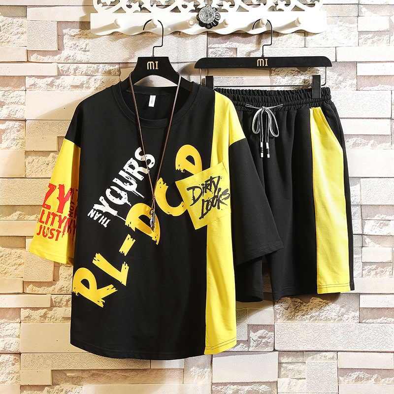 Hip Hop Middle Sleeve T-shirt Shorts A Set Of 2019 Summer Men Leisure Set Teenager Two-Piece Set Men'S Wear