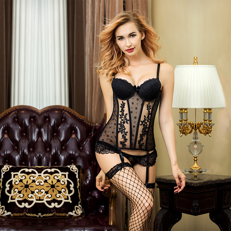 Sexy Corset Bustier Women Half Cup Slimming Healty Body Shaper Wasit Trainer Thong And Stockings Lingerie Set 9791