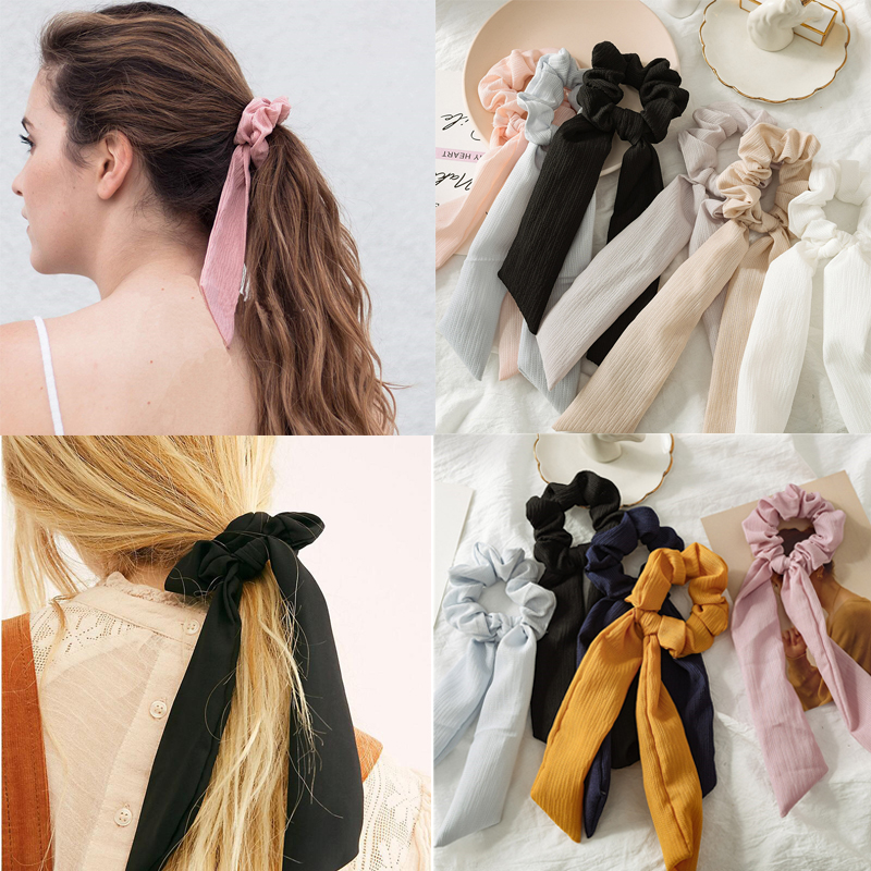 Bohe Solid Stripe Ribbon Hair Scrunchies Women Elastic Hair Bands Scarf Hair Ties Rope Ponytail Holder Girls Hair Accessories
