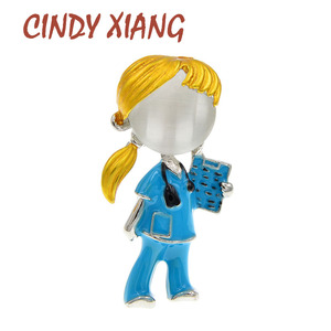 CINDY XIANG Pink Blue Enamel Doctor Brooch Pin Cute Nurse Brooches For Women Medical Jewelry 2 Colors Available Good Gift