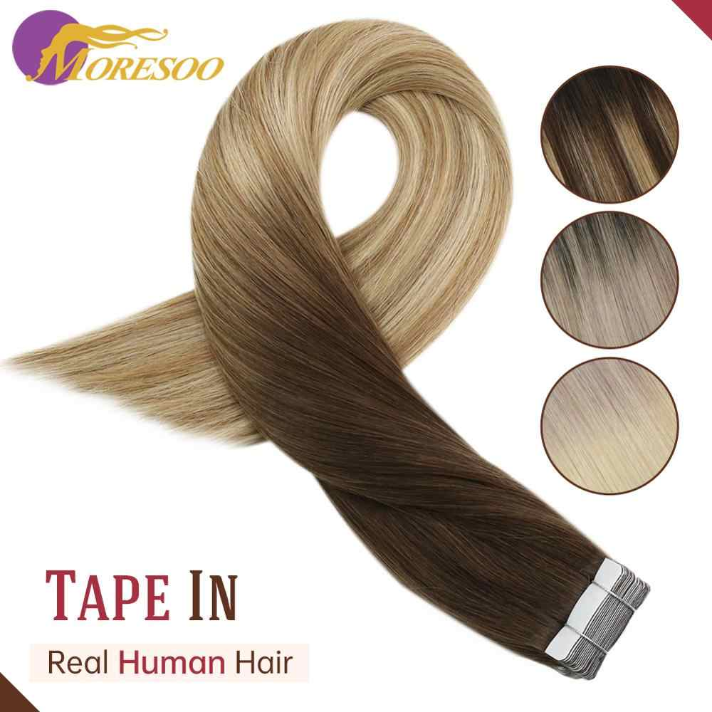 Hair Extensions Tape In Human Hair Balayage Ombre Kleur 12-24 Inch 30-100 G/pak Machine Remy Huid inslag Haar Tape Extensions