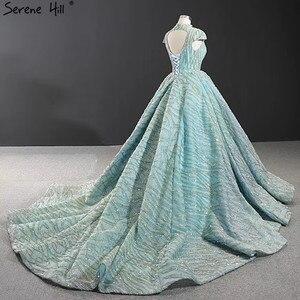 Image 4 - Czysta woda niebieski z krótkim rękawem Plus rozmiar suknie ślubne 2020 koronki cekinami wysoki kołnierz suknie ślubne projekt prawdziwe zdjęcie BHM66981