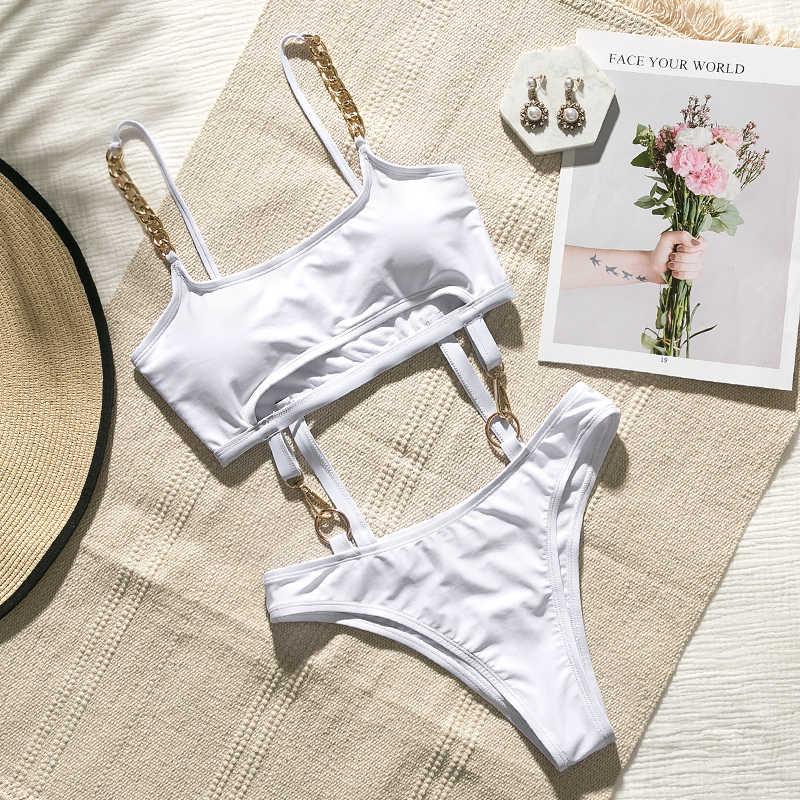 Mossha solide Push up bikini 2020 été baigneurs body une pièce femme maillot de bain femme maillot de bain évidé femmes monokini nouveau