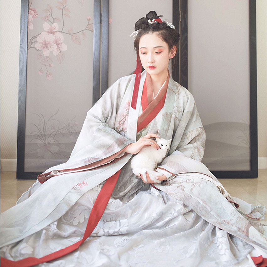 Luxury Women Hanfu Oriental Chinese Japanese Traditional Costumes 4PCs Tang Dynasty Ancient Queen Princess Stage Performance
