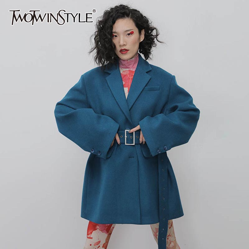 TWOTWINSTYLE Casual Loose Woolen Women's Blazers Notched Long Sleeve Hig Waist With Sashes Suits For Female Fashion Clothing New