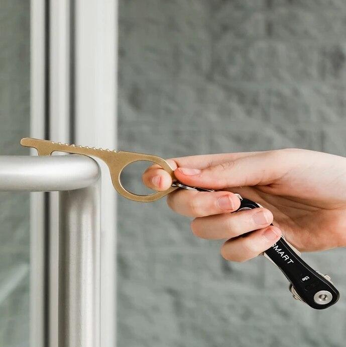 Латунный EDC дверной ключ открывает двери, избегайте микробов, инструмент для гигиены, ручной антимикробный стилус, Портативный Ключ для открывания дверей, аксессуары|Крючки и направляющие|   | АлиЭкспресс