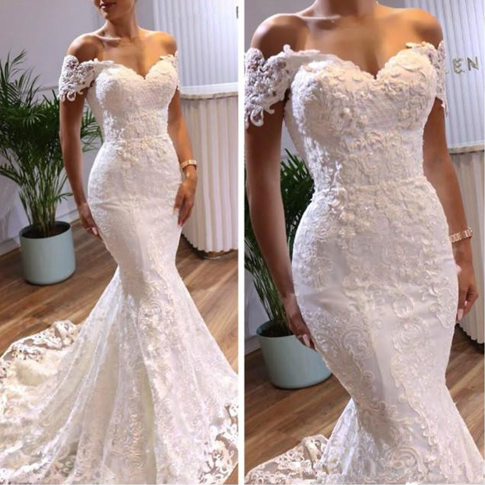 YIWUMENSA Short Sleeves Mermaid Wedding Dresses 2020 Lace Appliques Sweep Train Bridal Dress Luxury Lace-up Bride Dress