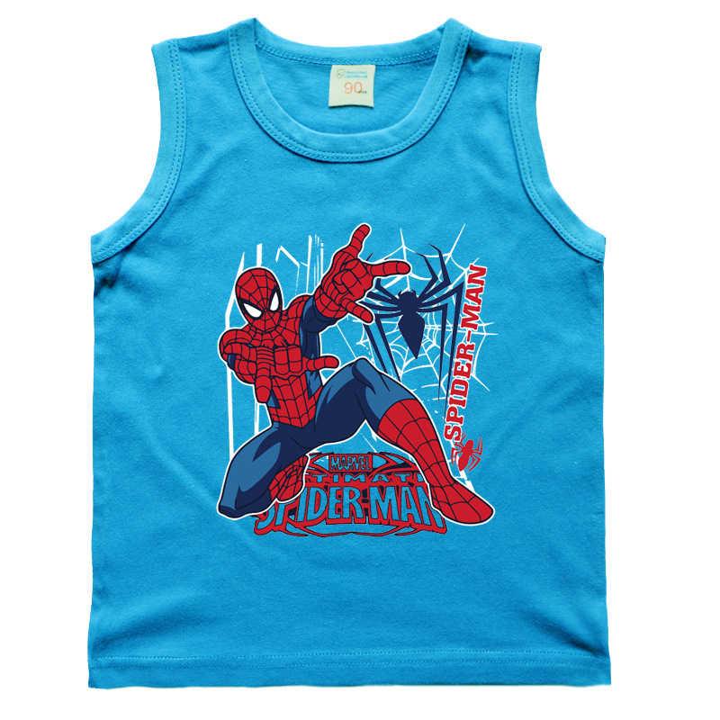 Nuovi Bambini Ragazzi Maglia Del Bambino T-Shirt Del Fumetto Spiderman Per I Bambini Delle Ragazze Supereroe Senza Maniche Cotone Delle Magliette Della Stampa Della lettera Canottiera