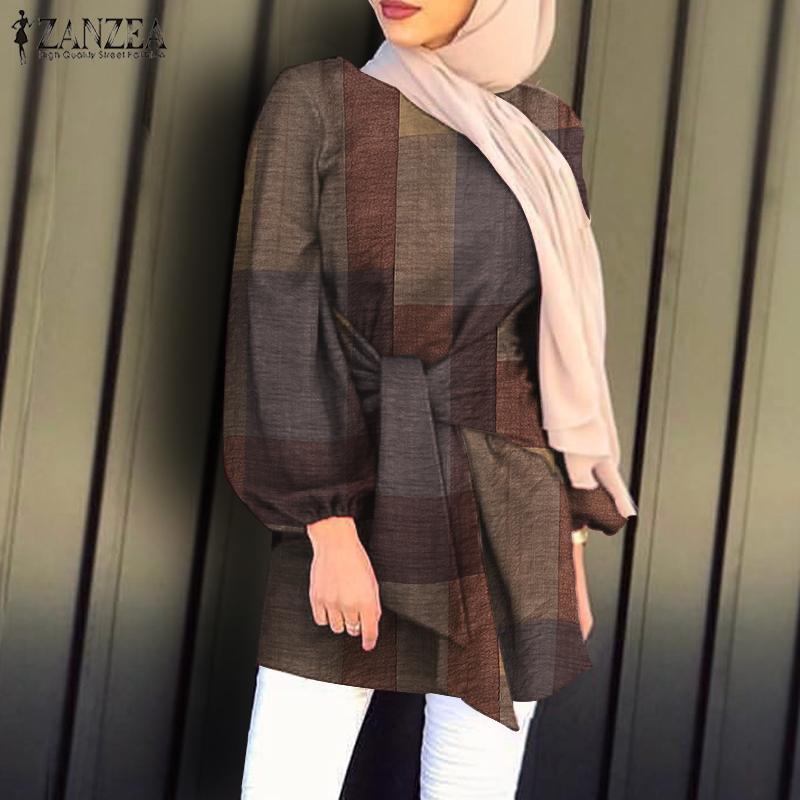 Loose Kanftan Blouse Spring Ladies Plaid Lace Up Muslim Fashion ZANZEA Asymmetrical Women Blouse 2021 Casual O neck Blusas 5XL