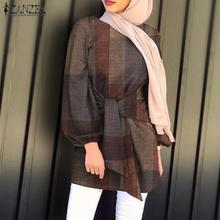 Blouse Kanftan ZANZEA Muslim Fashion Women Spring O-Neck Lace-Up Asymmetrical Blusas