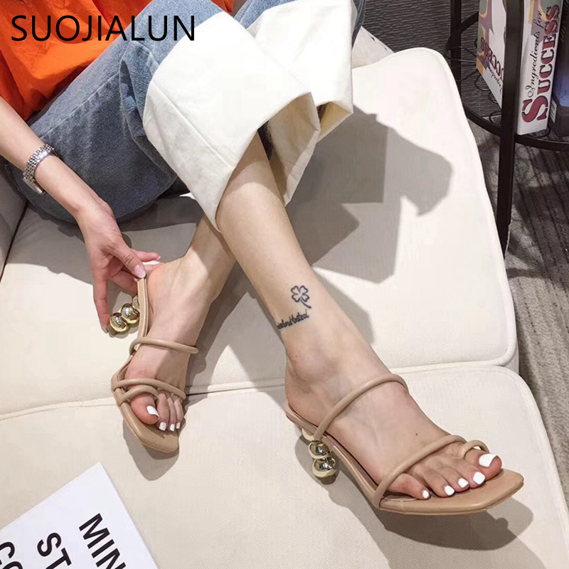 SUOJIALUN 2020 New Brand Design Women Slippers Fashion High Round Ball Heel Sandal Narrow Band Slippers Outdoor Beach Slides