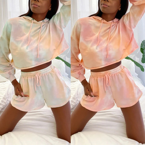 Women 2 Pieces Tie-Dye Tracksuit Long Sleeve Hooded Crop Top Drawstring Casual Shorts Ladies Stylish Outfits for Sports Fitness