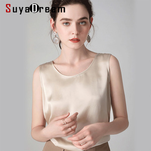 Image 5 - SuyaDream נשים משי טנקים 100% נדל משי סאטן O צוואר שרוולים חולצה 2020 מוצק קיץ וסטים
