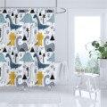 Штора для ванной с мультяшным рисунком, водонепроницаемые занавески для душа из полиэстера, с мультяшным принтом, для ванной комнаты, домаш...