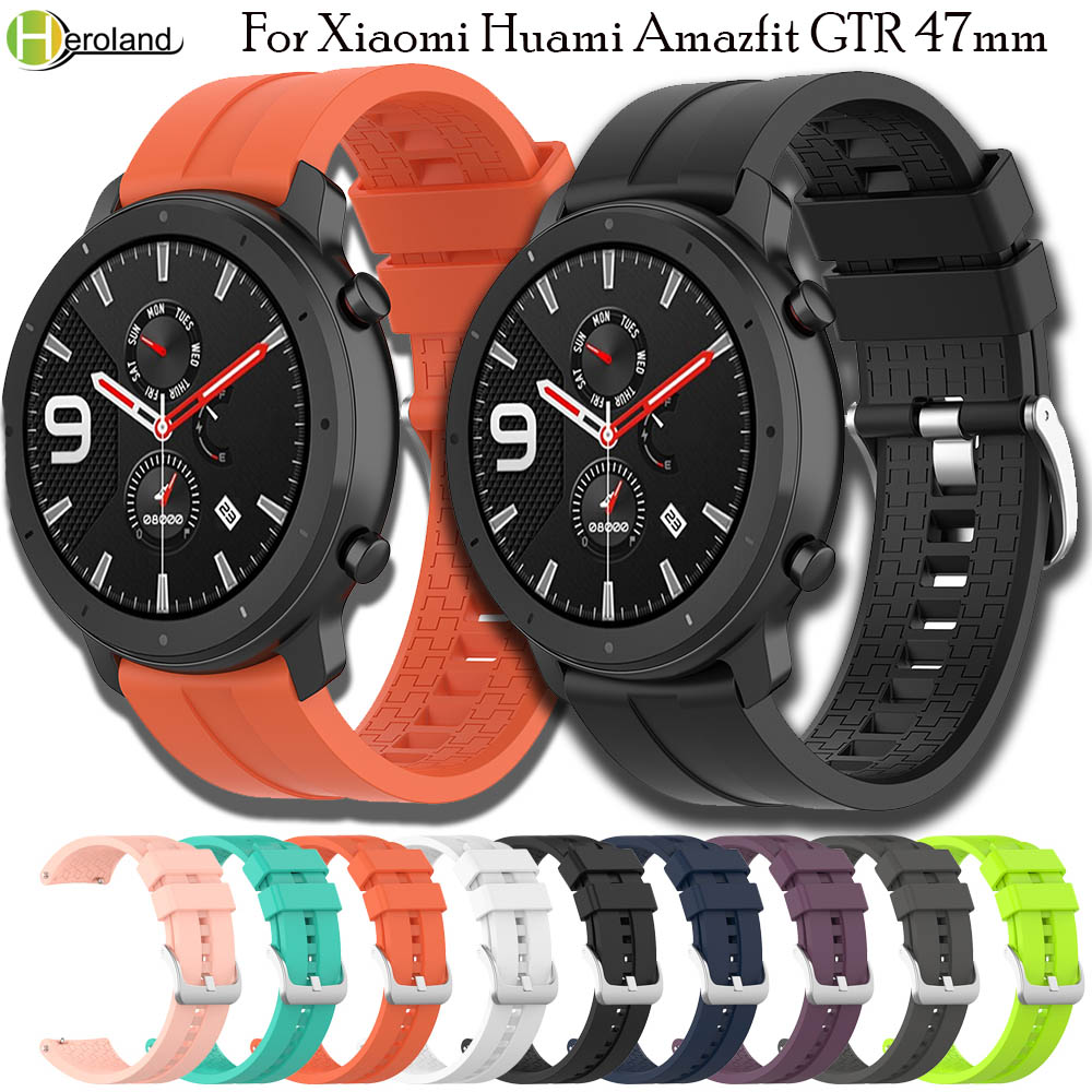 Hero Iand 22MM Wrist Strap Band For Xiaomi Huami Amazfit GTR 47mm/Stratos 2 2S Smartwatch Band Wriststrap Bracelet Soft Silicone