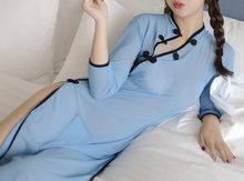 Vrouwen Sexy Lingerie Rollenspel Studenten Uniform Half Mouw Nachthemd See-through Cheongsam Babydoll(China)