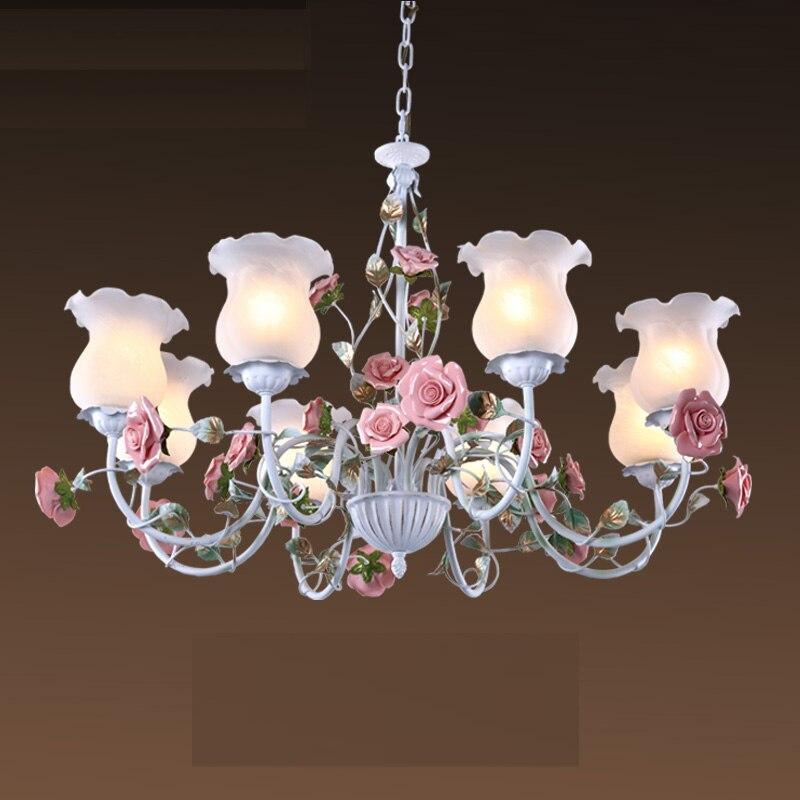 Floral E27 LED Pendant Chandelier White Flower Iron Alloy Chandeliers Dining Room Living Room Rose Lights Lamp Girls Bedroom D70
