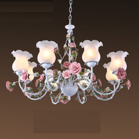 Floral E27 LED Pendant chandelier White Flower Iron Alloy chandeliers dining room living room Rose Lights Lamp Girls bedroom D70