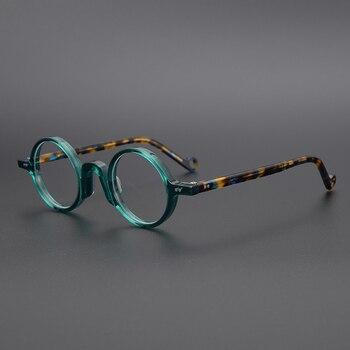 Acetate Transparent Round Glasses Men Vintage Small Eyeglasses Frame Women Optical Prescription Spectacle Frames Clear Eyewear