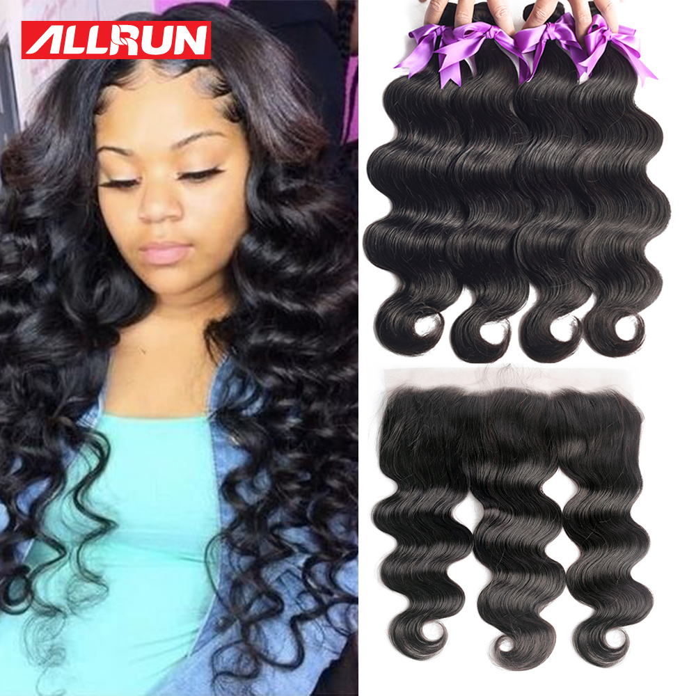 Bundles With Frontal Closure Human Hair Brazilian Hair Weave Bundles 13x4 Lace Frontal With Bundles Body Wave Non Remy Hair