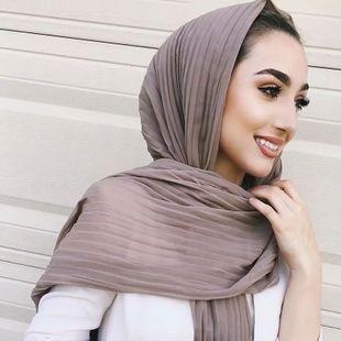 2019 Muslim Women Bubble Crinkle Chiffon Hijab Scarf Foulard Femme Musulman Shawls Islamic Headscarf Clothing Hijabs