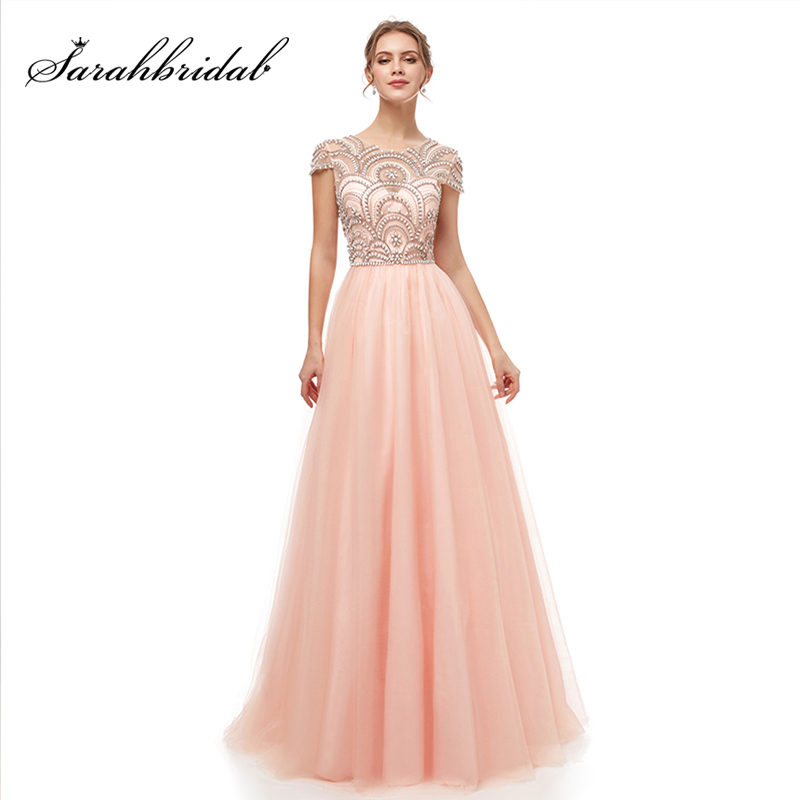 New Formal Wear Ball Gown Evening Long Dresses Elegant Women's Tulle Cap Sleeve Beading Prom Party Gowns Special Occasion L5222