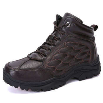 Plus velvet warm fashion men's outdoor hiking shoes youth high-top wear-resistant camping boots