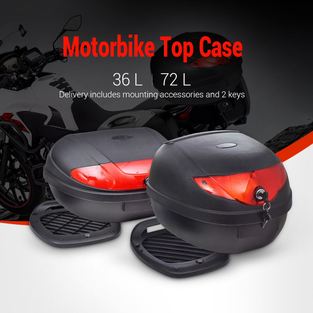 Ship From ES Motorcycle Trunk Top Case 36L 72L Rear Storage Waterproof Luggage Tool Box Black For Single Helmet Motorbike 7days