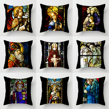 Double-sided Printing Polyester Cushion Cover Religion The Son of God Virgin Mary Jesus Christ Black Pillow Case for Sofa Chair