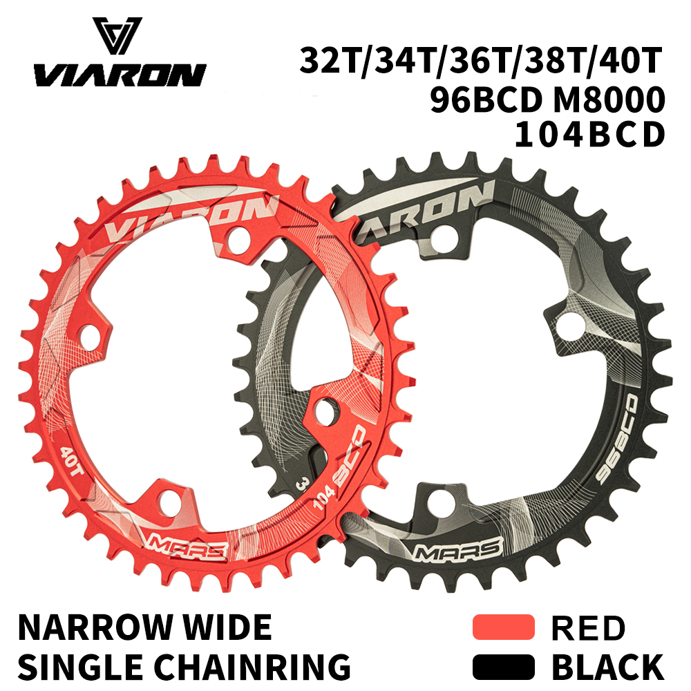 Round Narrow Wide Chainring Crankset Tooth Plate Parts 104BCD 32T 34T 36T 38T 40T 104 BCD for MTB Mountain Bike by VIARON