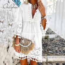 Ordifree 2020 letnie kobiety Mini sukienka luźna seksowna krótka biała koronkowa sukienka w formie tuniki na plażę tanie tanio Poliester Koronki Luźne CADK-3754 Lato Plaża style V-neck Naturalne Trzy czwarte Stałe Flare rękawem Powyżej kolana Mini