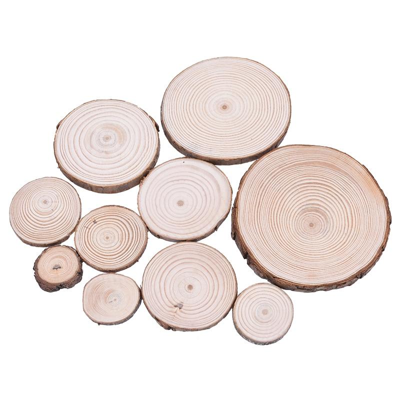 3-12cm naturel rond non fini blanc bois tranches cercles cadeau bricolage artisanat fête de mariage peinture écrire décoration en bois