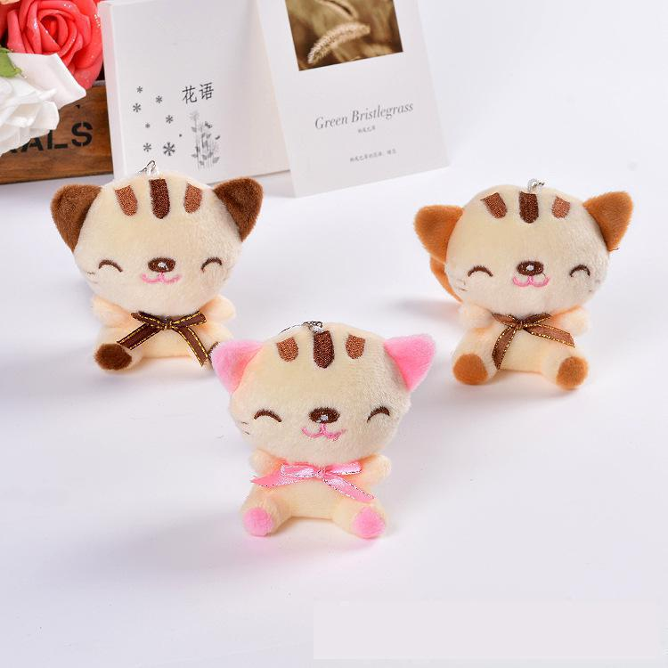3 Colors Kawaii 9CM Cute Cat Plush Key chain Doll Plush Stuffed Animal Toy Dolls Small Pendant Kid Gift